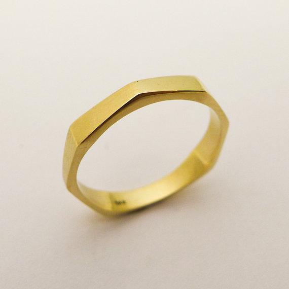 Minimalist Wedding Bands Geometric Gold
