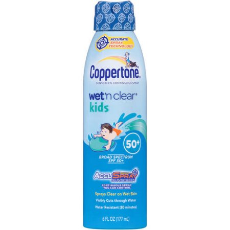 Coppertone Wet'n Clear kids sunscreen continuous spray, SPF 50+