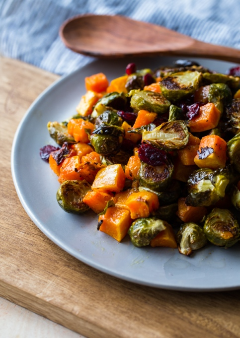Roasted Brussels sprouts & squash with dried cranberries