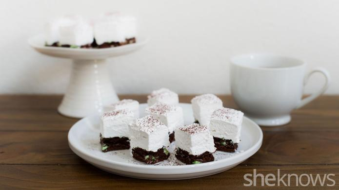 Treat yourself with marshmallow-topped mint brownie