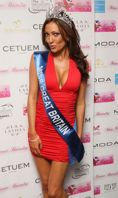 Miss Great Britain 2009 Sophie Gradon arrives at the Miss Great Britain party