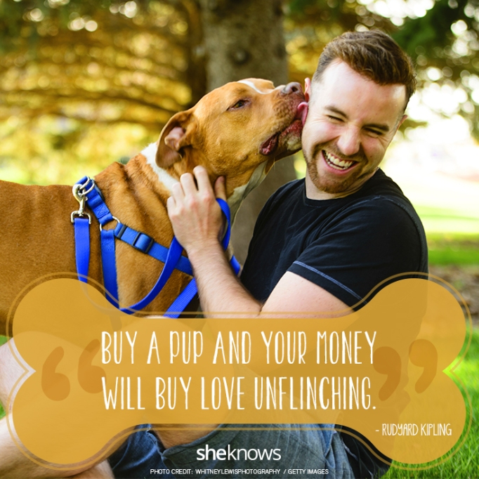 """""""Buy a pup and your money will buy love unflinching."""" —Rudyard Kipling"""