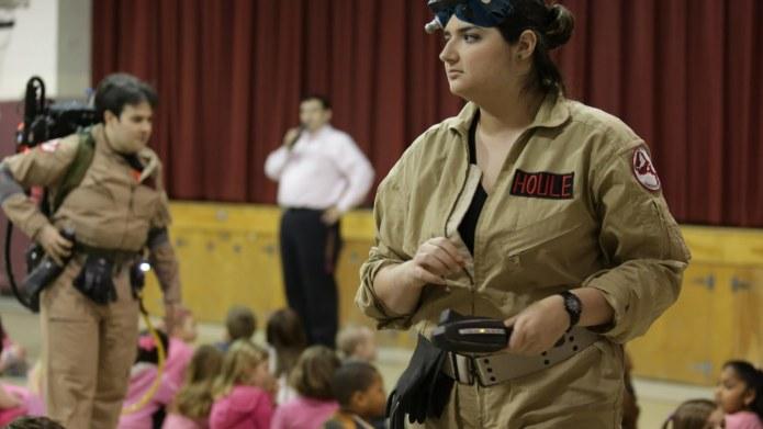 Volunteers dress up as Ghostbusters characters