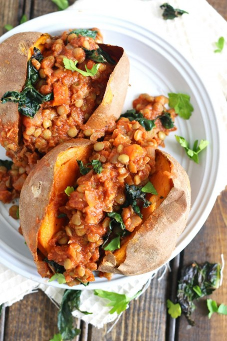 Vegetarian 4th of July: Stuff your sweet potatoes with bbq lentils for a meal carnivores will love too.