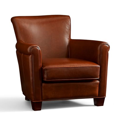 Ways to Create a Cozy Reading Nook   Irving Upholstered Leather Armchair in Stetson Chesnut