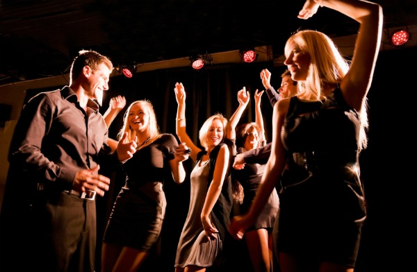 dancing at a nightclub