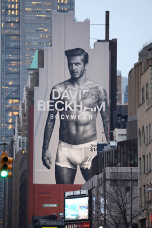 David Beckham billboard in NYC