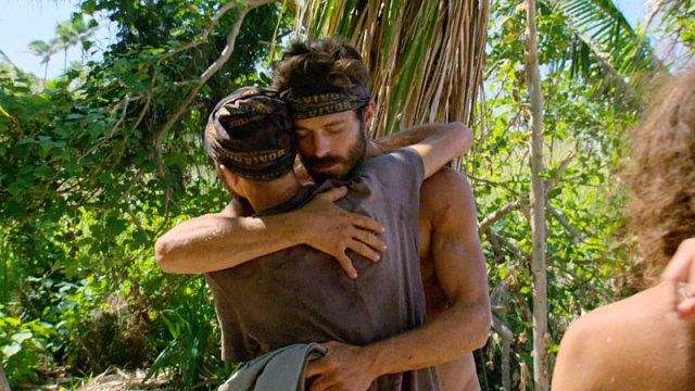 David Wright and Ken McNickle hug it out on Survivor: Millennials Vs. Gen-X