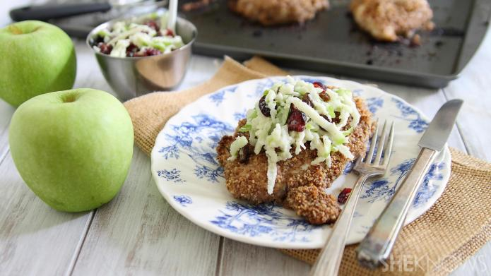 Pecan-crusted chicken with green apple slaw