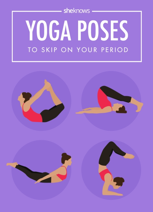 Yoga poses to skip on your period Pinterest image SheKnows