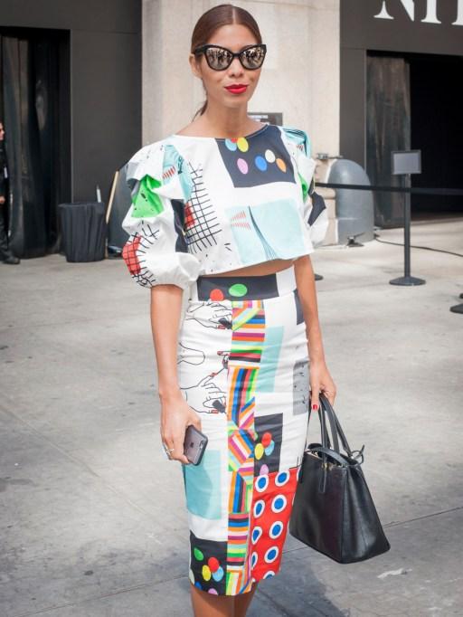 Fashion week street style outfit in funky pattern