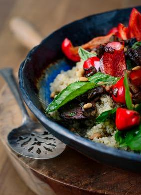 Roasted Peppers and Mushrooms on Quinoa