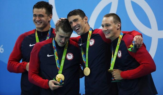 Michael Phelps and men's swimming team Olympics