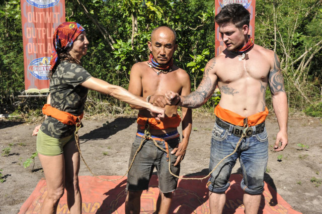 Debbie Wanner, Tai Trang and Caleb Reynolds in challenge for Survivor: Game Changers