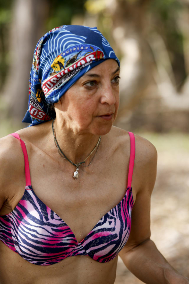 Debbie Wanner wears blue Nuku tribe buff on Survivor: Game Changers