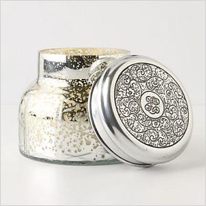 Mercury glass jar candle
