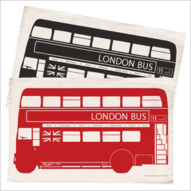 London bus dish towel
