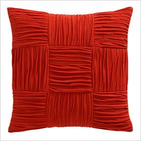 shirred burnt orange pillows