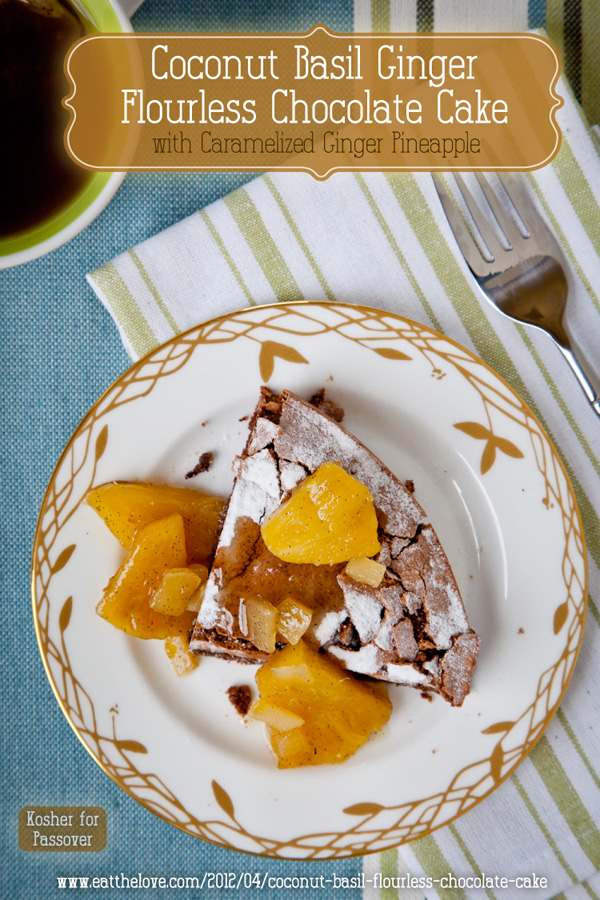Coconut basil ginger flourless chocolate cake