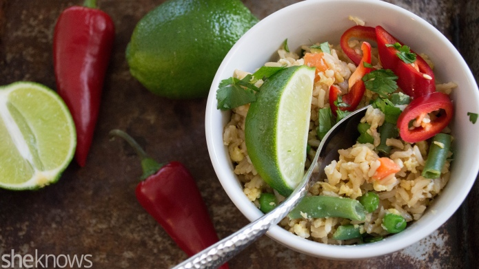 Coconut-veggie fried brown rice is a
