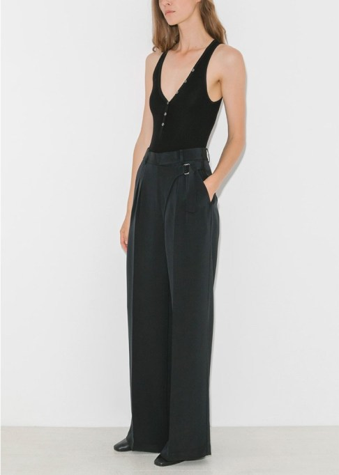 Wide Leg Pants Are Making a Comeback: T By Alexander Wang Silk Crepe Wide Leg Trouser | Summer Style 2017