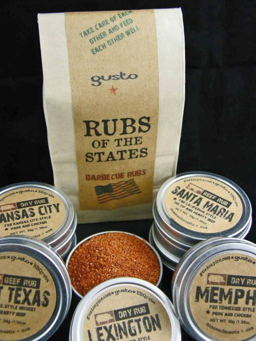 Gusto's original barbecue rubs of the states on Etsy