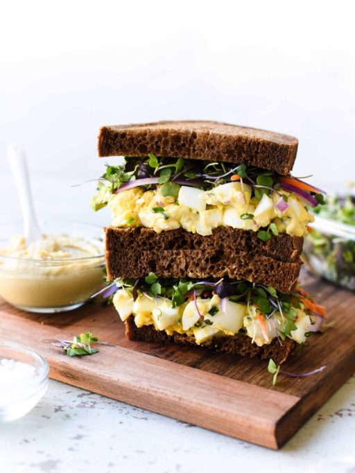 Summer sandwich recipe: Hummus and tahini replace mayo in a twist on a traditional egg salad sandwich.
