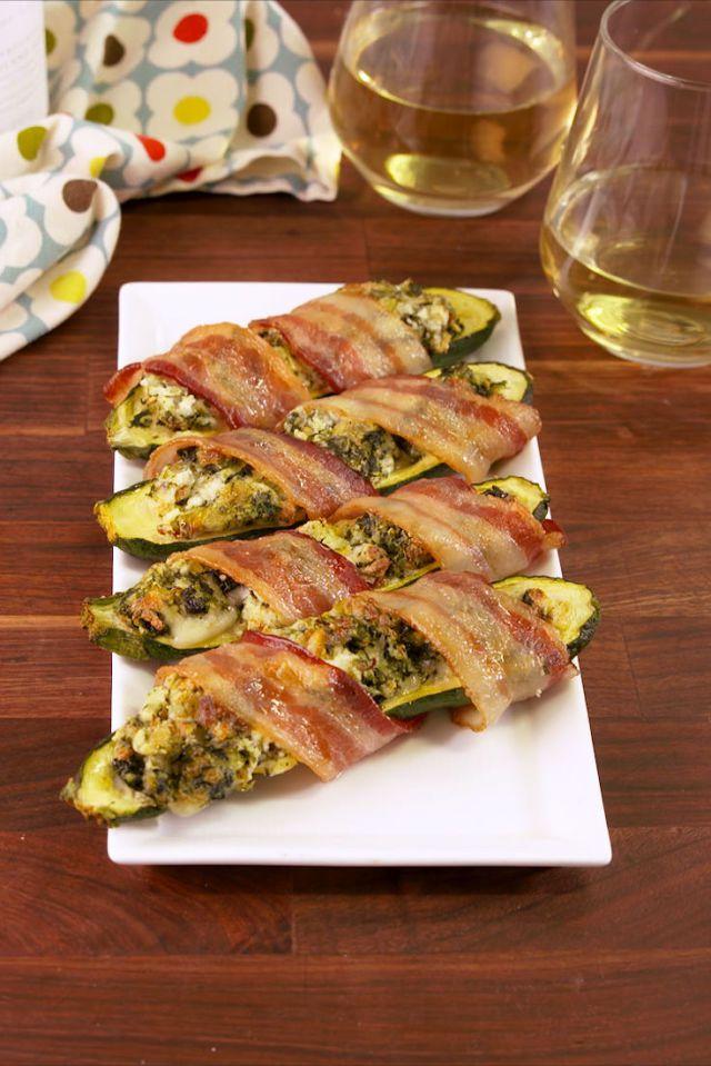 Delish bacon-wrapped stuffed zucchini
