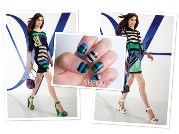 Diane Von Furstenberg-inspired funky color-blocked nail design