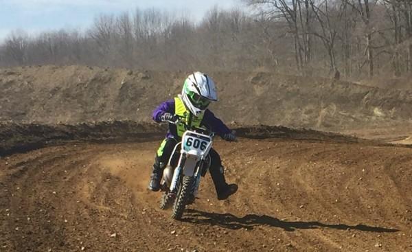 Child riding motocross