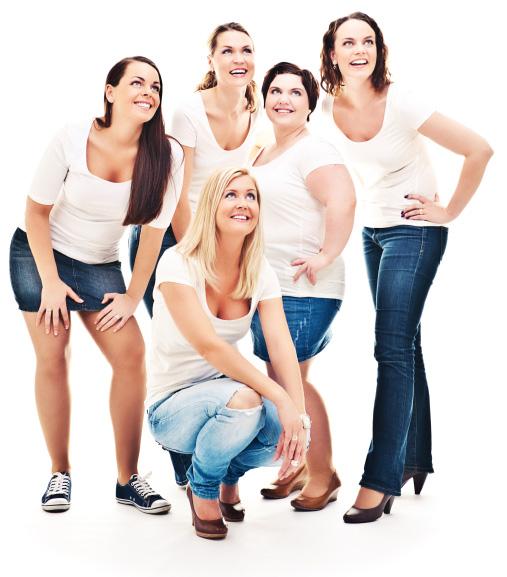 Diverse women wearing jeans