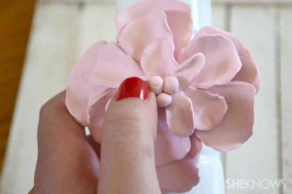 DIY clay flower for milk glass vases