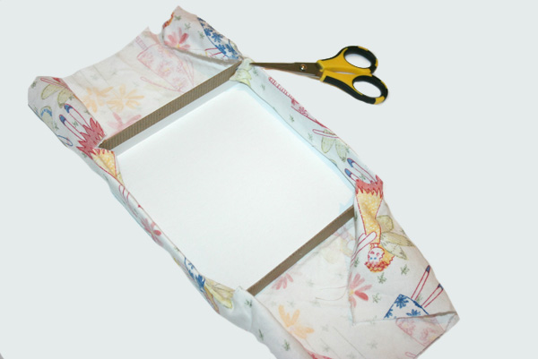 DIY fabric covered box -- cut slits