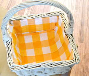 Fabric-lined basket