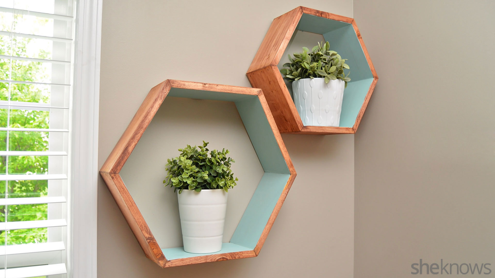 Make your own storage with geometric wall shelves - SheKnows