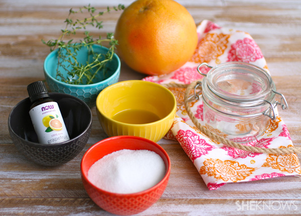 DIY Grapefruit and thyme sugar scrub