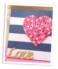 DIY heart striped canvas