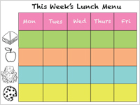 DIY printable lunch calendar