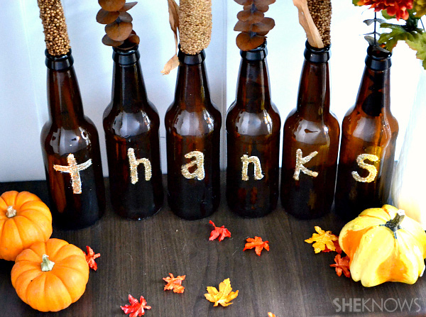 Thanksgiving decor with beer bottles