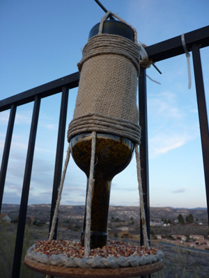 DIY wine bottle bird feeder -- Step 5