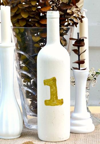 DIY wine bottle number