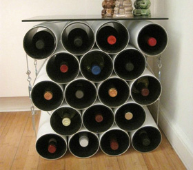 Modular drainage pipe wine table