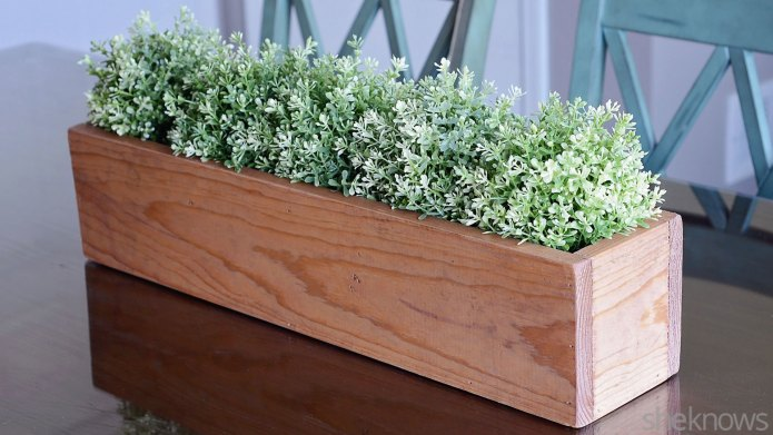 DIY wooden box centerpiece is an