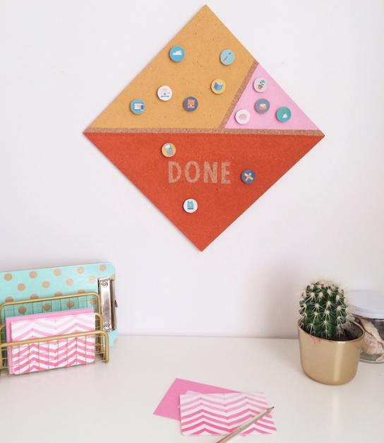 DIY cork board chore chart