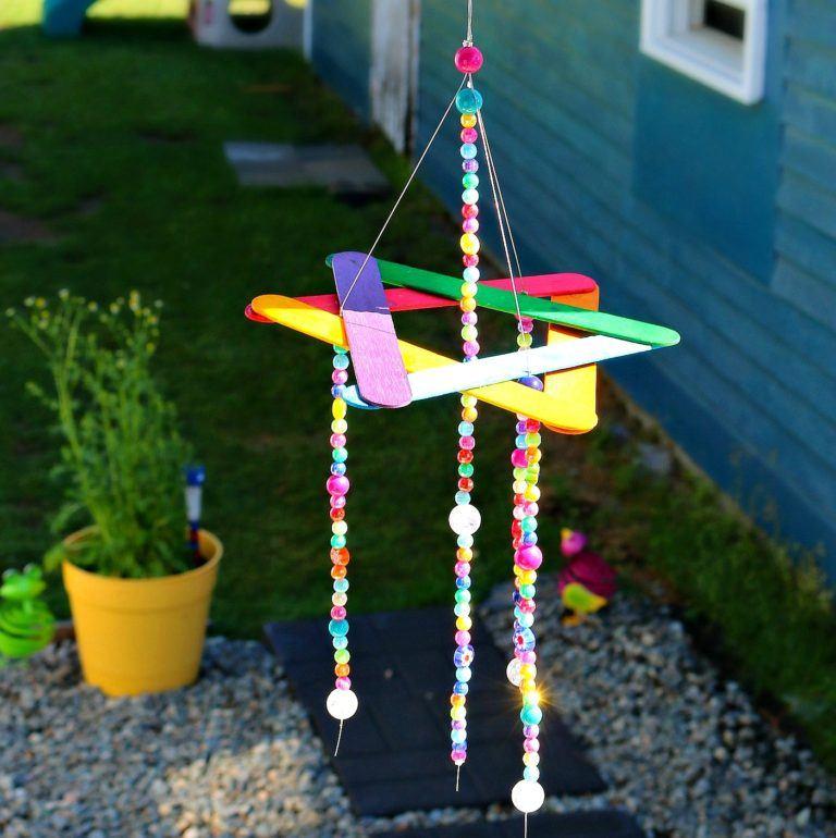 Beaded rainbow wind chime summer craft