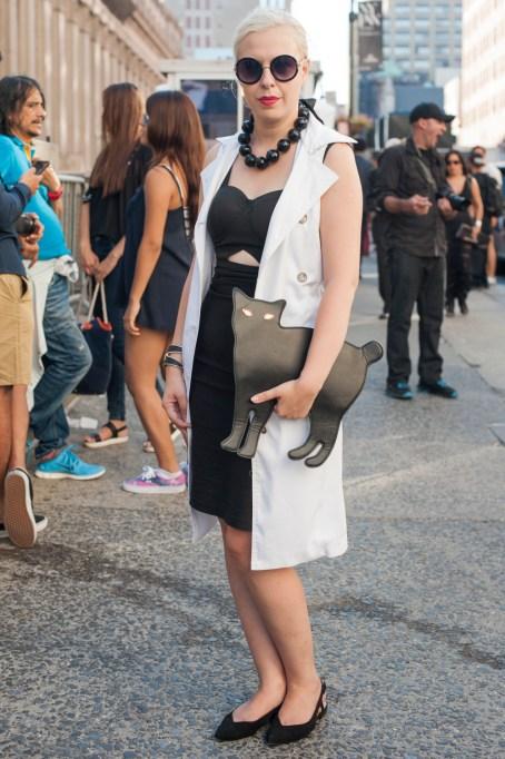 Fashion week street style white vest