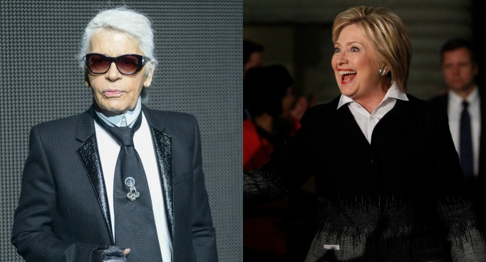 Karl Lagerfeld and Hillary Clinton
