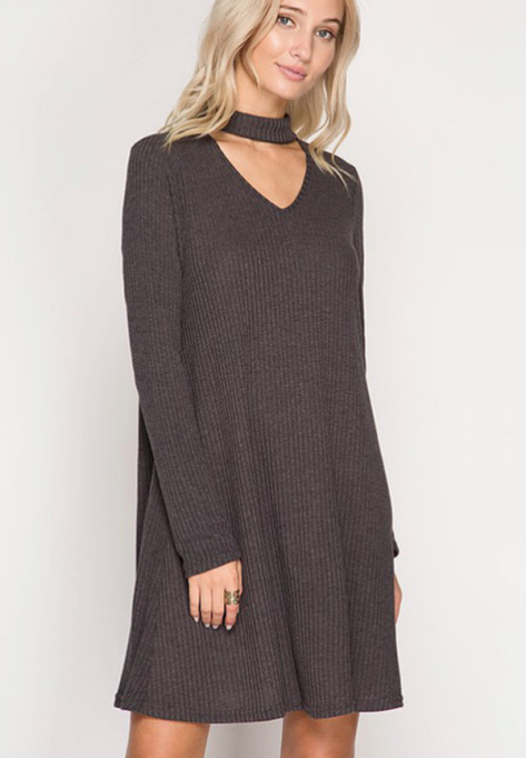 Must-Have Long Sleeve Dresses | Grey Choker Sweater Dress