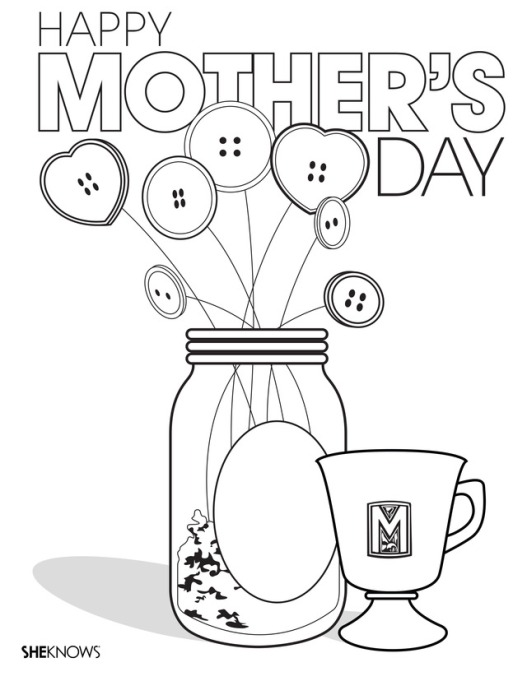 Mason jar Mother's Day printable coloring page