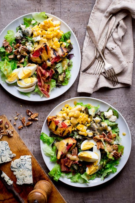 Summer Peach Recipes: Give your Cobb salads a summer makeover with grilled peaches and corn.